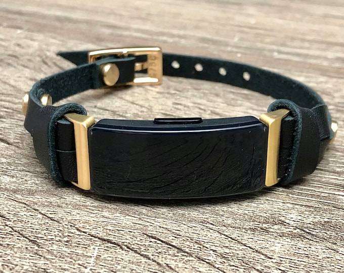 Gold & Black Fitbit Inspire 2 Band Slim Fitbit Inspire 2 Strap Bracelet Genuine Leather Adjustable Size Fitbit Inspire 2 Jewelry Wristband