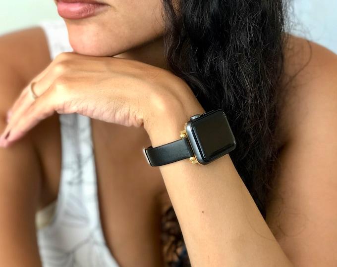 Black Apple Watch Bracelet 38mm 40mm 42mm 44mm Slim Vegan Leather & Gold Apple Watch Band Adjustable Wristband Soft Leather iWatch Strap