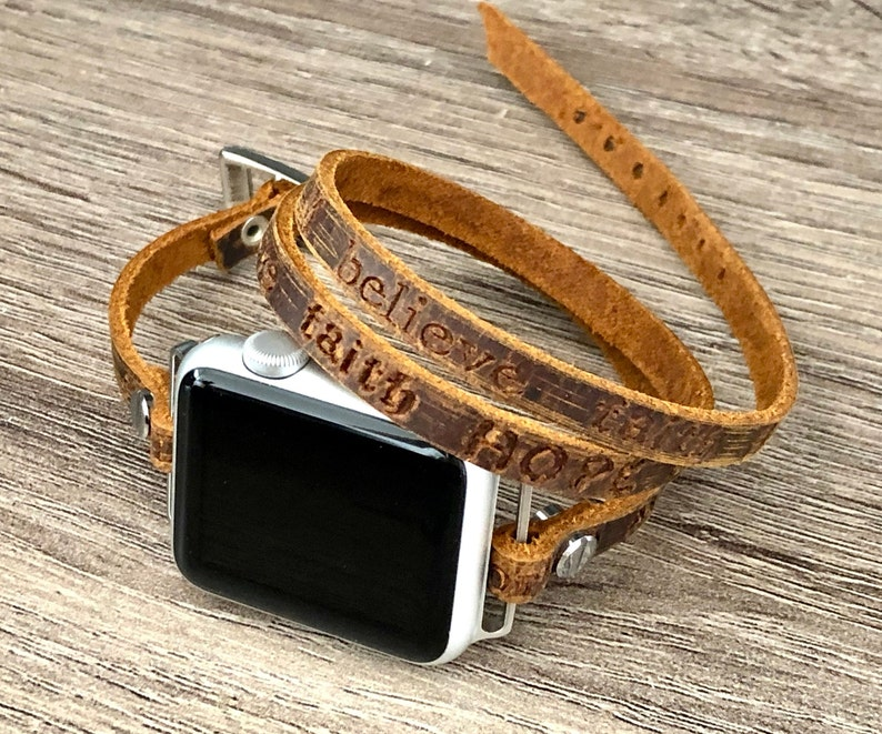 Apple Watch Band 38mm 40mm 42mm 44mm Rustic Brown Leather 42mm