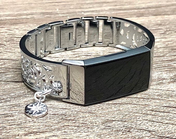 Fitbit Charge 3 Band Women Style Flowers Design Silver Fitbit Bangle with CZ North Star Medallion Metal Fitbit Charge 3 Bracelet Jewelry