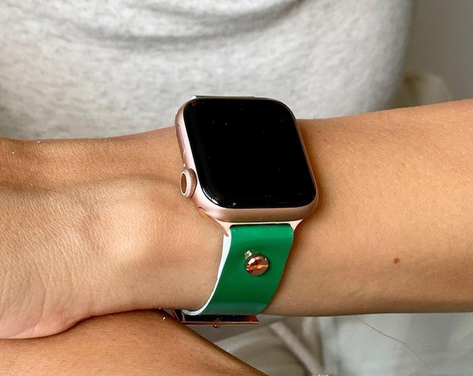 Dark Green Leather Apple Watch Band 38mm 40mm 42mm 44mm Luxury Minimal Design iWatch Bracelet Rose Gold Apple Watch Wristband Leather Strap