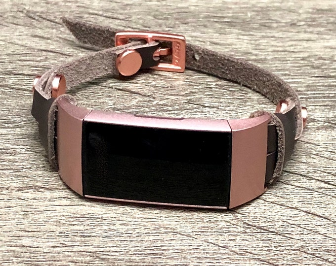 Rose Gold & Brown Leather Fitbit Charge 3 Band Double Wrapped Fitbit Charge 3 Strap Bracelet for Women Luxury Leather Fitbit Charge 3 Band