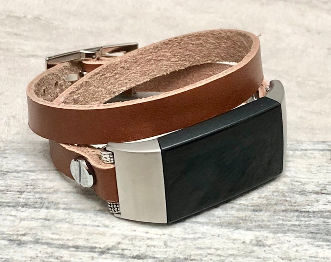 FITBIT CHARGE 3 Band Double Wrapped Leather Fitbit Charge 3 Strap Bracelet Stainless Steel Fitbit Charge 3 Leather Band Adjustable Wristband