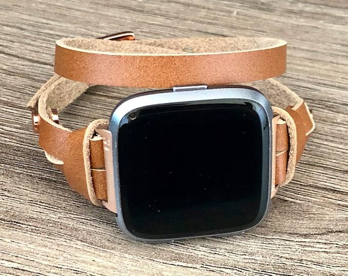 Rose Gold & Bronze Leather Fitbit Versa Watch Band Women Adjustable Wrap Fitbit Versa Bracelet Double Wrap Soft Leather Fitbit Band Jewelry
