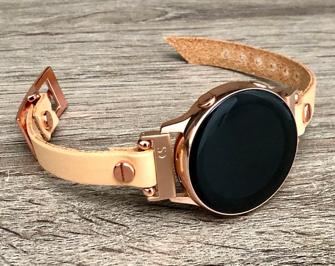 Tan Leather Pink Gold Galaxy Watch Active 2 Band 40mm 44mm Women Galaxy Watch 42mm Wristband Rose Gold Galaxy Active Slim Strap Bracelet