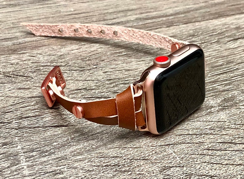Bronze Leather Apple Watch Strap Bracelet Pink Rose Gold image 0