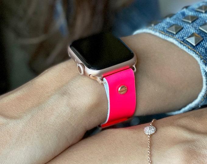 Hot Pink Apple Watch Band 38mm 40mm 42mm 44mm Rose Gold Apple Watch Bracelet Women iWatch Strap Jewelry Leather Apple Watch Wristband