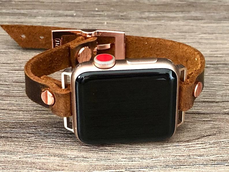 Apple Watch Band 38mm 40mm 42mm 44mm Rose Gold & Vintage image 0