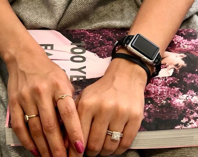 Apple Watch 38mm 40mm 42mm 44mm Band Series 1 2 3 4 Women iWatch Double Wrap Black Leather Strap Bracelet Silver Apple Watchband Jewelry