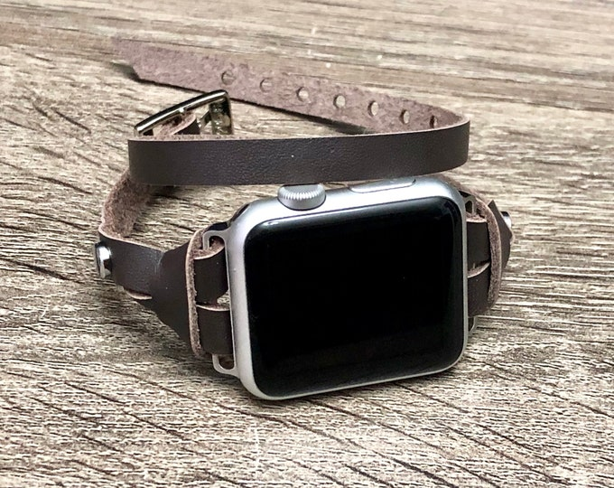 Silver & Brown Leather Bracelet for Apple Watch 38mm 42mm iWatch Band Double Wrap Apple Watch Series 4 Band Apple Watch 4 Bracelet 40mm 44mm