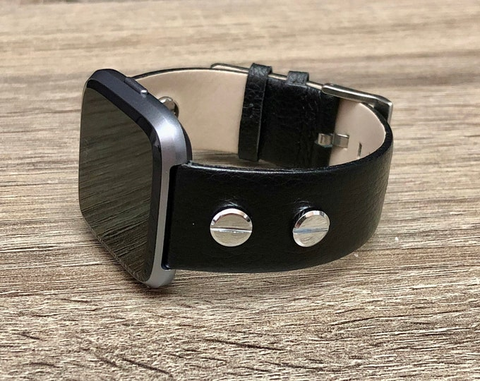 Black Vintage Leather Bracelet for Fitbit Versa Watch Handmade Fitbit Versa Band with Silver Rivets Adjustable Size Fitbit Versa Bracelet