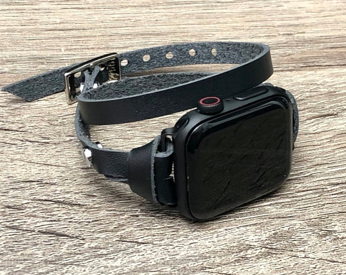 Space Gray Apple Watch Leather Bracelet 38mm 42mm Band Strap Women iWatch Band Space Gray Apple Watch 40mm 44mm Slim Double Wrapped Strap