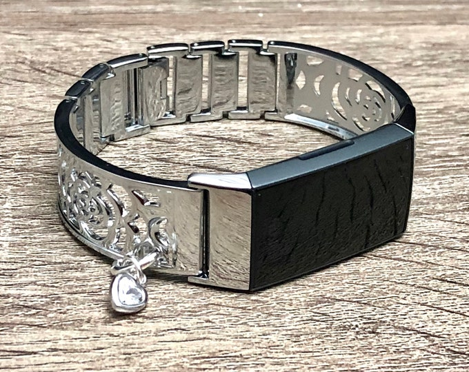 Fitbit CHARGE 3 Band Women Style Flowers Design Silver Fitbit Bangle with Crystal Heart Medallion Metal Fitbit Charge 3 Bracelet Jewelry