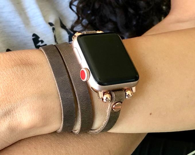 Rose Gold & Rustic Leather Apple Watch Band 38mm 40mm 42mm 44mm Multi Wrap Slim iWatch Bracelet Apple Watch Wristband Women iWatch Strap