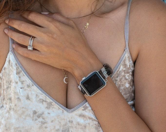 Apple Watch Band 38mm 40mm 42mm 44mm Silver Apple Watch Wristband Genuine Leather Zebra Print iWatch Bracelet Adjustable Women Strap Jewelry