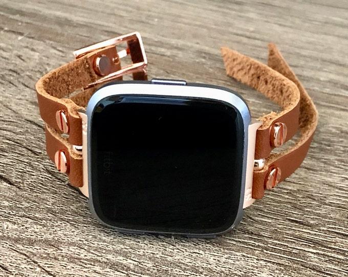 Fitbit Versa 2 Band Rose Gold Fitbit Versa Watch Strap Women Style Fitbit Versa Bracelet Fitbit Versa Lite Wristband Bronze Leather Jewelry