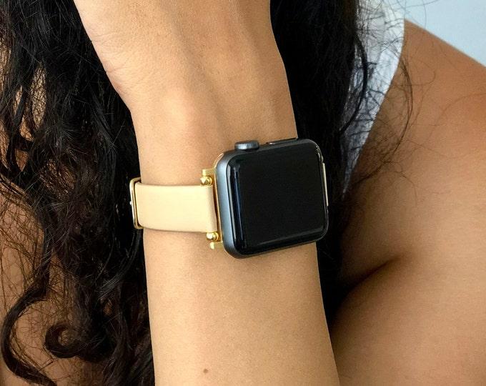 Beige Leather Apple Watch Band 38mm 40mm 42mm 44mm Slim Vegan Strap Apple Watch Bracelet Adjustable Soft Leather Wristband iWatch Cuff Wrap