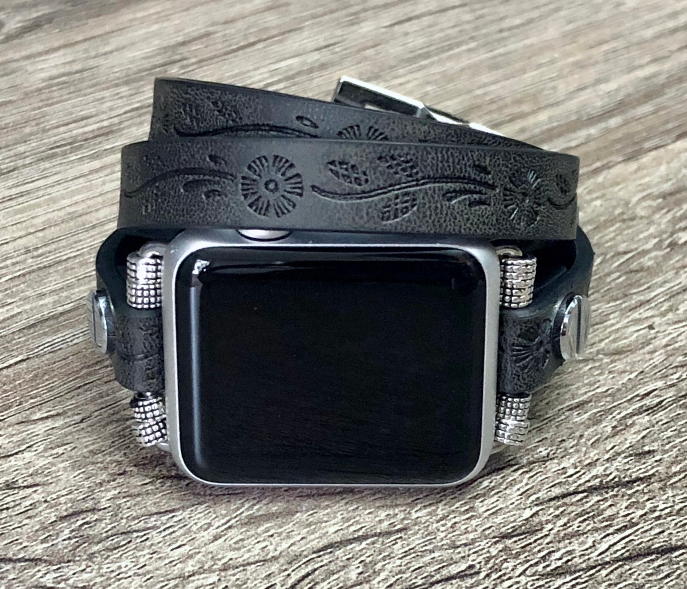 8c711d01cd6 Black Leather Bracelet for Apple Watch 38mm 42mm Multi Wrap Apple Watch  Band Unisex Jewelry iWatch Leather Wristband Adjustable iWatch Band