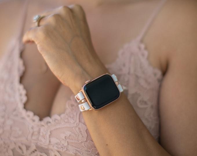 Apple Watch Band 38mm 40mm 42mm 44mm Rose Gold Apple Watch Bracelet Women iWatch Strap Pearl White Genuine Leather Apple Watch Wristband