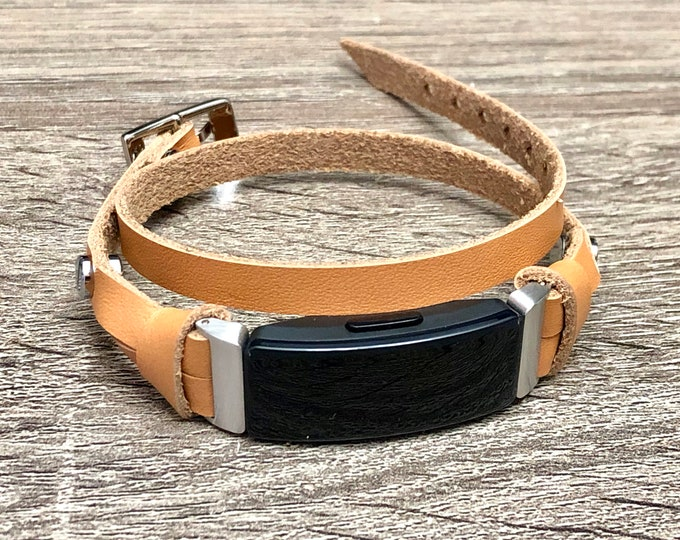Tan Color Leather Fitbit Inspire Band Double Wrap Silver & Beige Fitbit Strap, Fitbit Inspire HR Band, Fitbit Inspire Wristband Jewelry Wrap