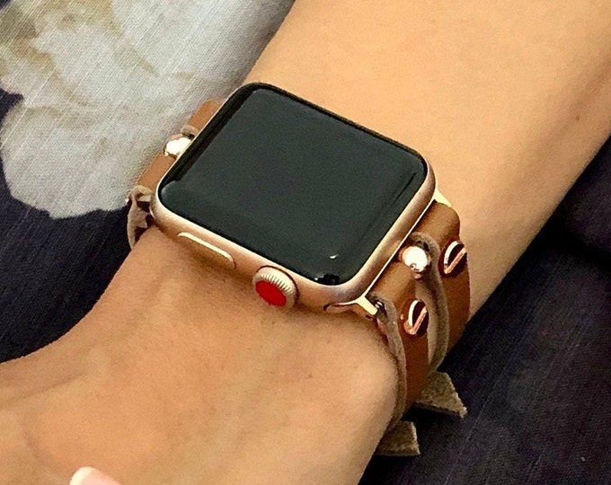 Brown Leather Apple Watch Band 41mm 45mm Rose Gold Apple Watch Strap 40mm 44mm Women iWatch Band Jewelry Bracelet Apple Watch Cuff Wristband