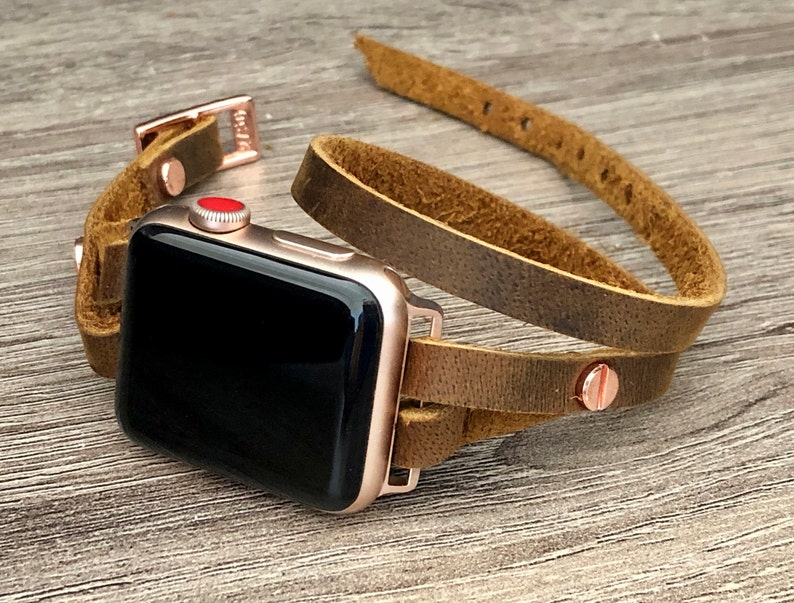 Rose Gold & Brown Leather Apple Watch Band 38mm 40mm 42mm 44mm 42mm