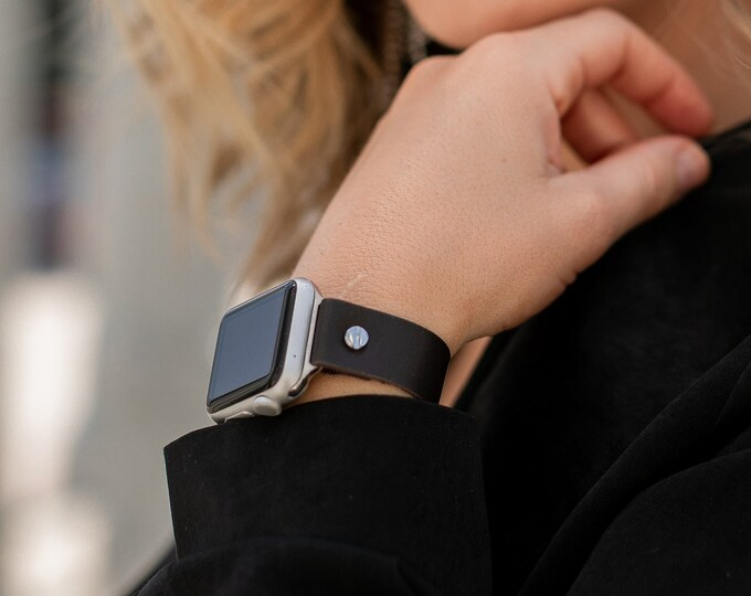 Apple Watch Band 40mm 44mm Silver Apple Watch Strap 38mm 42mm Dark Brown iWatch Bracelet Italian Soft Genuine Leather Apple Watch Wristband