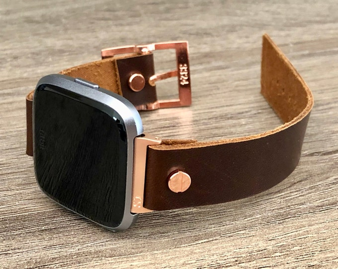 Fitbit Versa 2 Band Rose Gold Fitbit Versa Lite Watch Adjustable Chocolate Brown Leather Fitbit Versa Band Genuine Leather Watch Wristband