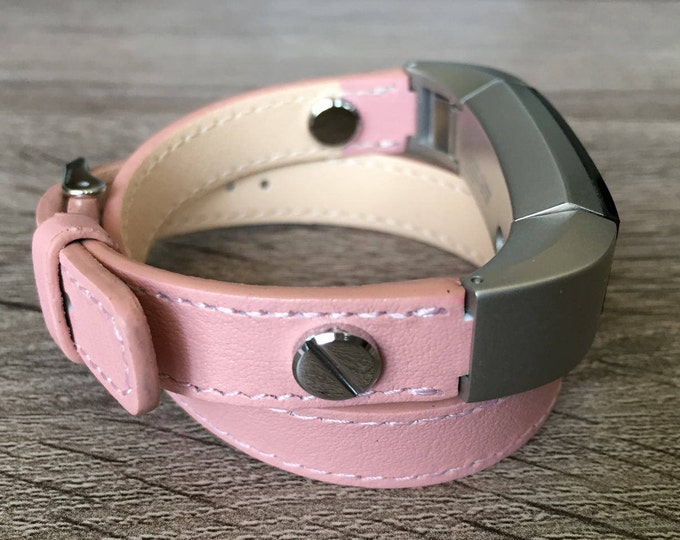 Pink Vegan Band For Fitbit Alta HR Double Wrapped Eco Friendly Leather Strap Fitbit Alta Accessories Fitbit Alta Bands Fitbit Alta Bracelet