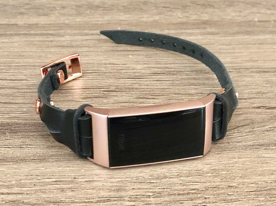 Elegant Rose Gold /& Black Leather Fitbit CHARGE 3 Band FITBIT Charge 3 Strap Bracelet for Women Luxury Leather Fitbit Charge 3 Band Jewelry