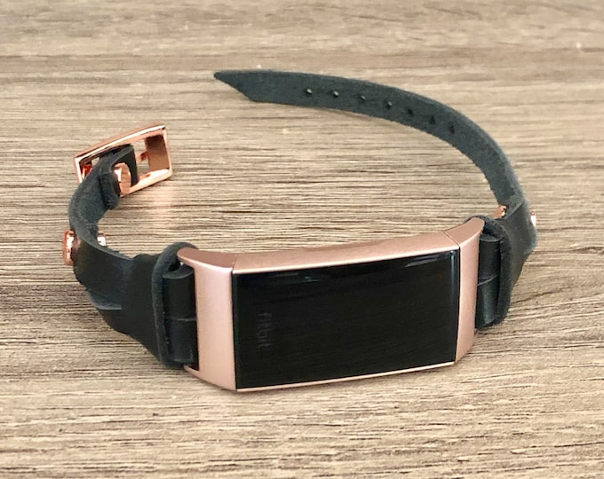 Rose Gold Fitbit CHARGE 3 Band Black Leather FITBIT Charge 3 Strap Bracelet for Women Luxury Leather Fitbit Charge 3 Band Jewelry