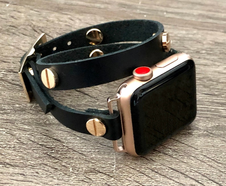 Black Genuine Leather Apple Watch Bracelet 38mm 40mm 42mm 44mm image 0