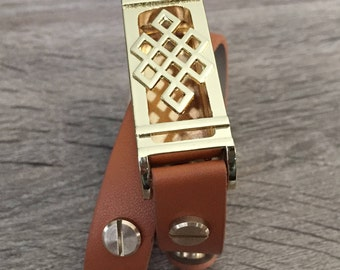 Brown Band for Fitbit Flex Activity Tracker Vegan Double Wrap Bracelet Gold Celtic Knots Fitbit Flex Holder Gold Rivets Fitbit Flex Band