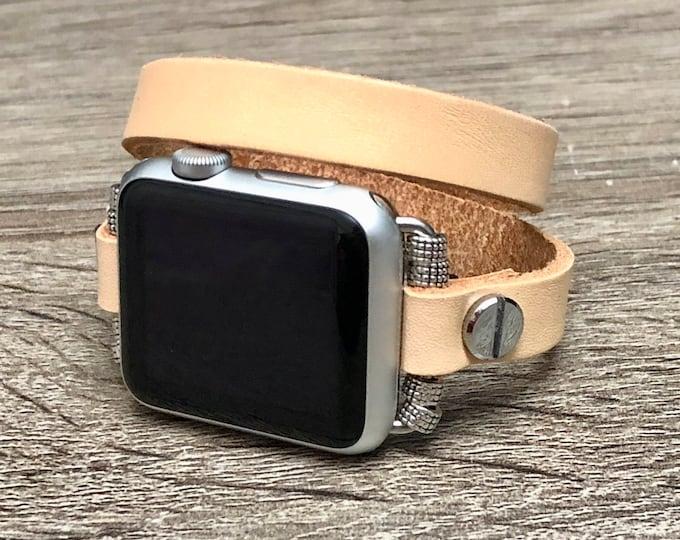 Beige Leather Apple Watch Band 38-40mm 42-44mm Luxury Apple Watch Bracelet Adjustable Double Wrap Apple Watch Strap Fashion iWatch Band