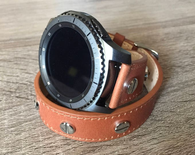 Handmade Light Brown Double Wrap Leather Band for Samsung Gear S3 Classic & Gear S 3 Frontier Smartwatch Strap Multiple Silver Metal Rivets