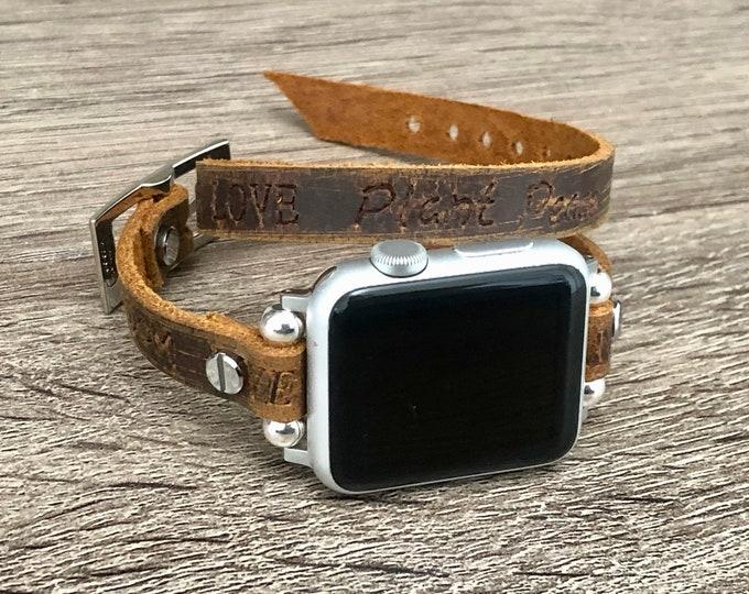Leather Apple Watch Band Women Style Embossed Apple Watch Strap Bracelet Brown iWatch Bracelet 38mm 40mm 42mm 44mm iWatch Strap Band