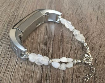 Handmade Moonstone Bracelet for Fitbit Alta Fitness Tracker Silver Ornament Fitbit Alta HR Protective Band Moonstone Crown Chakra Band Gift