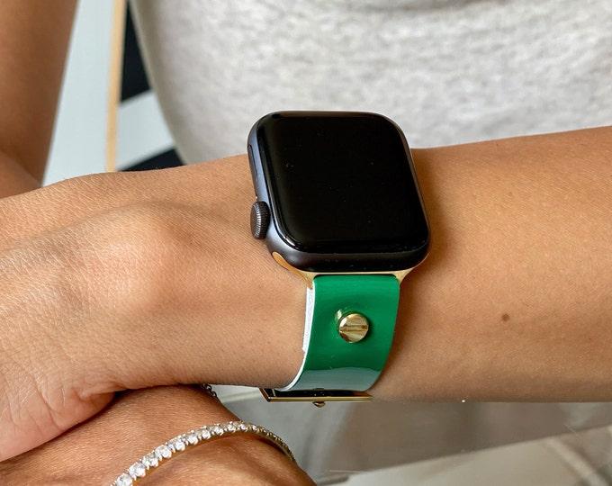 Dark Green Leather & Gold Apple Watch Band 38mm 40mm 42mm 44mm Minimalist Design iWatch Bracelet Woman Apple Watch Wristband Leather Strap