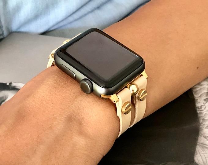 Vegan Leather Apple Watch Bracelet Cream Color & Gold Apple Watch Band 38mm 40mm 42mm 44mm Women iWatch Band Jewelry Cuff Wristband
