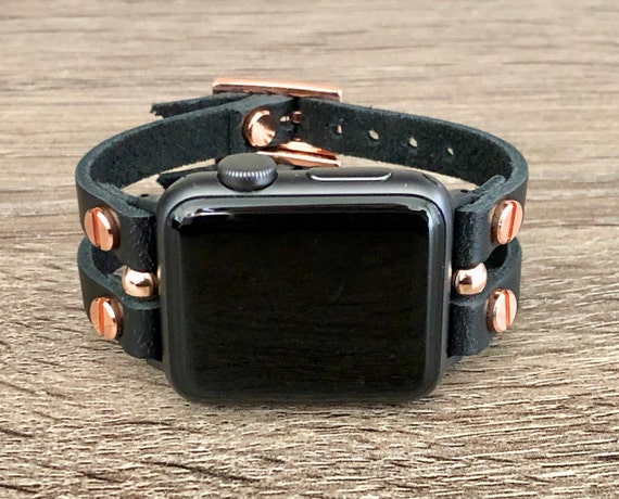 Black Leather Rose Gold Apple Watch Band Two Toned Apple Etsy
