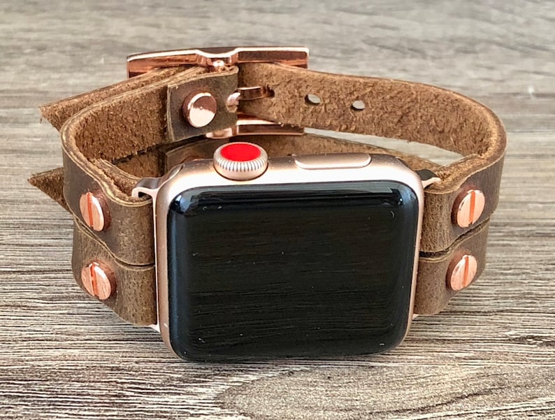 Apple Watch Band 38mm 40mm 42mm 44mm Brown Genuine Leather image 0
