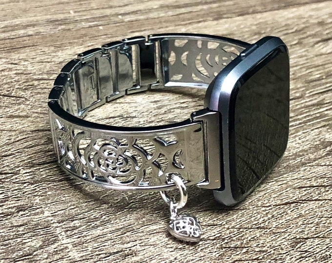 Fitbit VERSA Band Women Shiny Silver Fitbit Versa 2 Bangle Silver Heart Medallion Bracelet Fitbit Versa Lite Bracelet Watch Jewelry