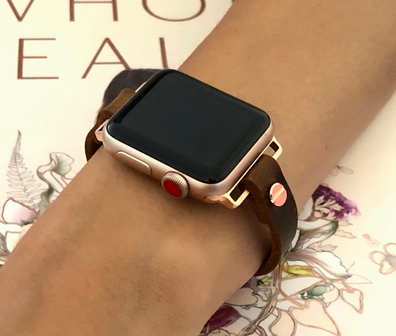 Apple Watch  38mm 40mm 42mm 44mm Rose Gold & Vintage Leather 40mm