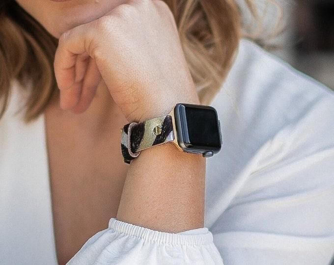 Gold Apple Watch Band 38mm 40mm 41mm 42mm 44mm 45mm Zebra Print Leather iWatch Bracelet Apple Watch Wristband Adjustable Women Strap Jewelry