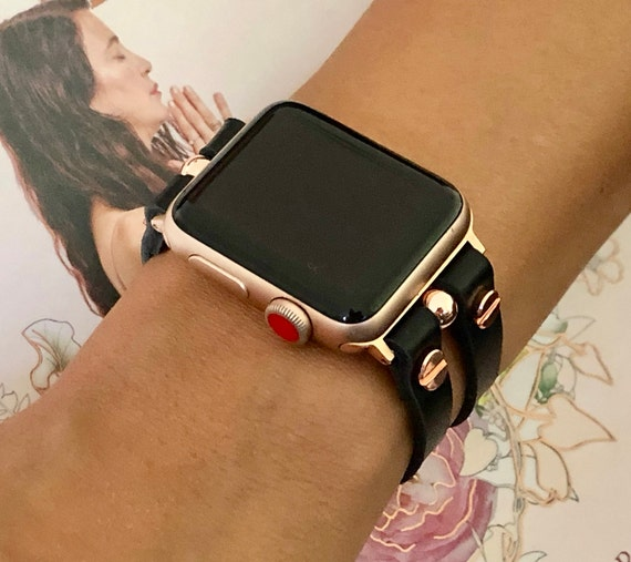Rose Gold Apple Watch Band Black Leather Adjustable Iwatch Etsy