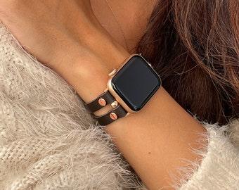 Italian Leather Apple Watch Band 38mm 40mm 41mm 42mm 44mm 45 Rose Gold Apple Watch Strap Women iWatch Bracelet Jewelry Apple Watch Wristband