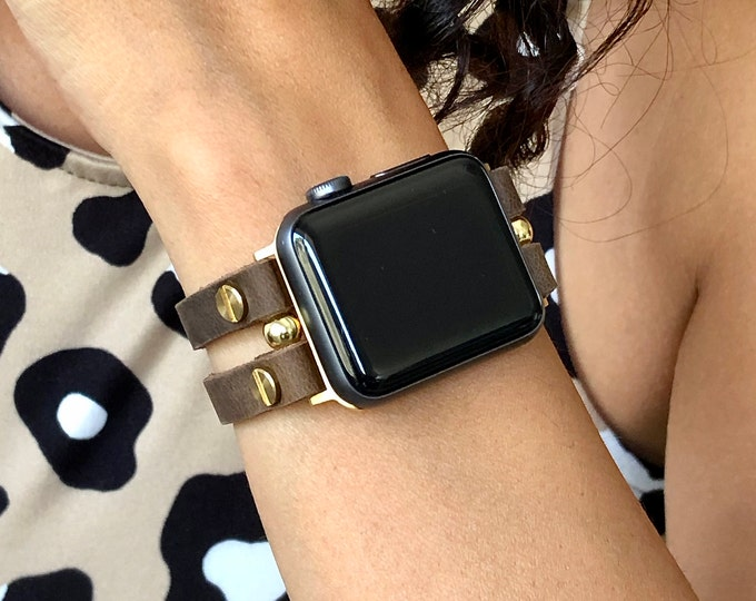 Gold & Brown Apple Watch Leather Band 38mm 40mm 42mm 44mm iWatch Rustic Leather Bracelet Apple Watch Strap Adjustable Apple Watch Wristband