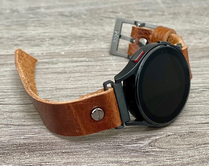 Brown Leather Samsung Galaxy Watch 4 Band 40mm 44mm Grain Leather Strap Bracelet Galaxy Watch 4 Wristband Galaxy 4 Watch Strap Band
