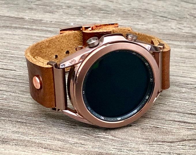 Bronze Samsung Galaxy Watch 3 Bracelet 41mm Watch Band Genuine Brown Leather Galaxy Watch 3 Band Adjustable Leather Strap Cuff Wristband
