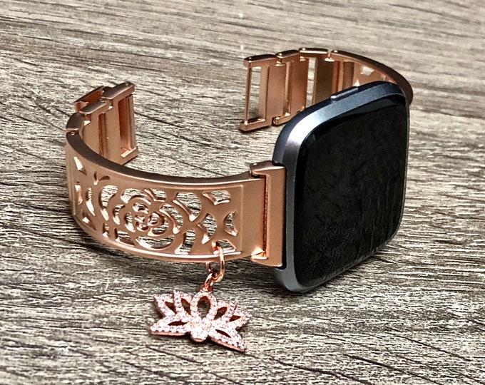 Rose Gold Fitbit Versa Band Woman Handmade Fitbit Versa Band CZ Lotus Medallion Bracelet Adjustable Fitbit Versa Bangle Links Fitbit Jewelry